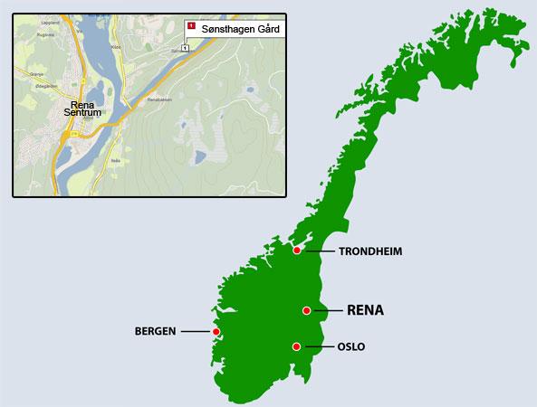 rena leir kart Sønsthagen Gård rena leir kart
